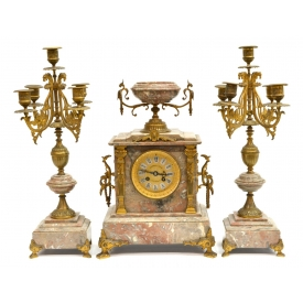 (3) FRENCH MARBLE & BRONZE CLOCK GARNITURE SET
