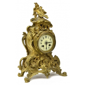 FRENCH LOUIS XV STYLE BRASS MANTEL CLOCK