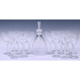 (18)LALIQUE CRYSTAL PHALSBOURG DECANTER & STEMWARE