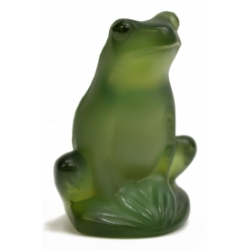 LALIQUE CRYSTAL FROG FIGURINE SIGNED