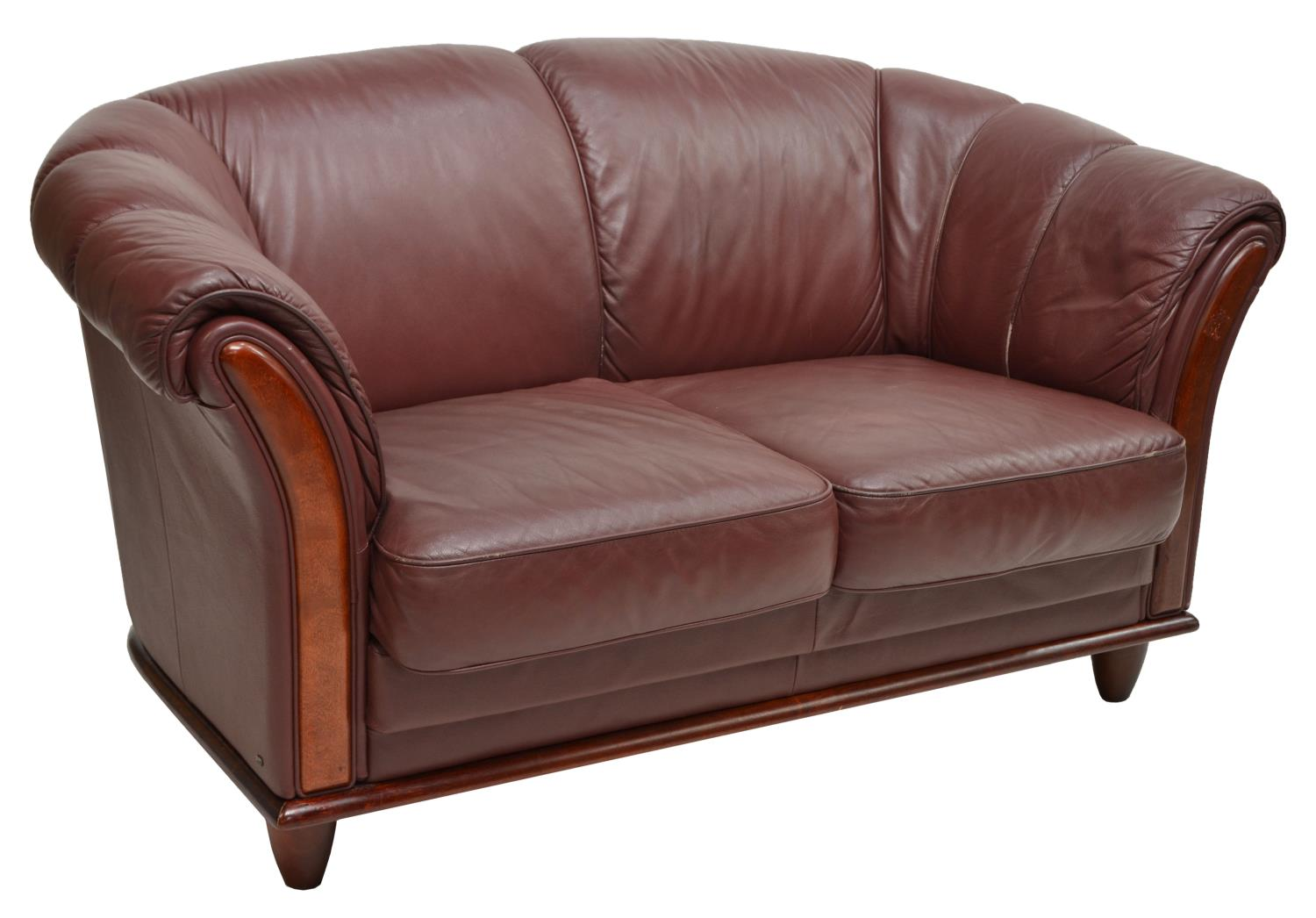Danish Modern Burgundy Leather Loveseat C 1970 March 2016 Estates Auction Day One Austin
