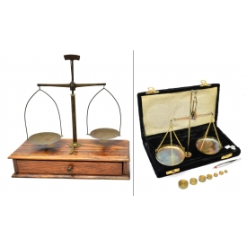 (2) JEWELER'S SCALES WITH WEIGHTS