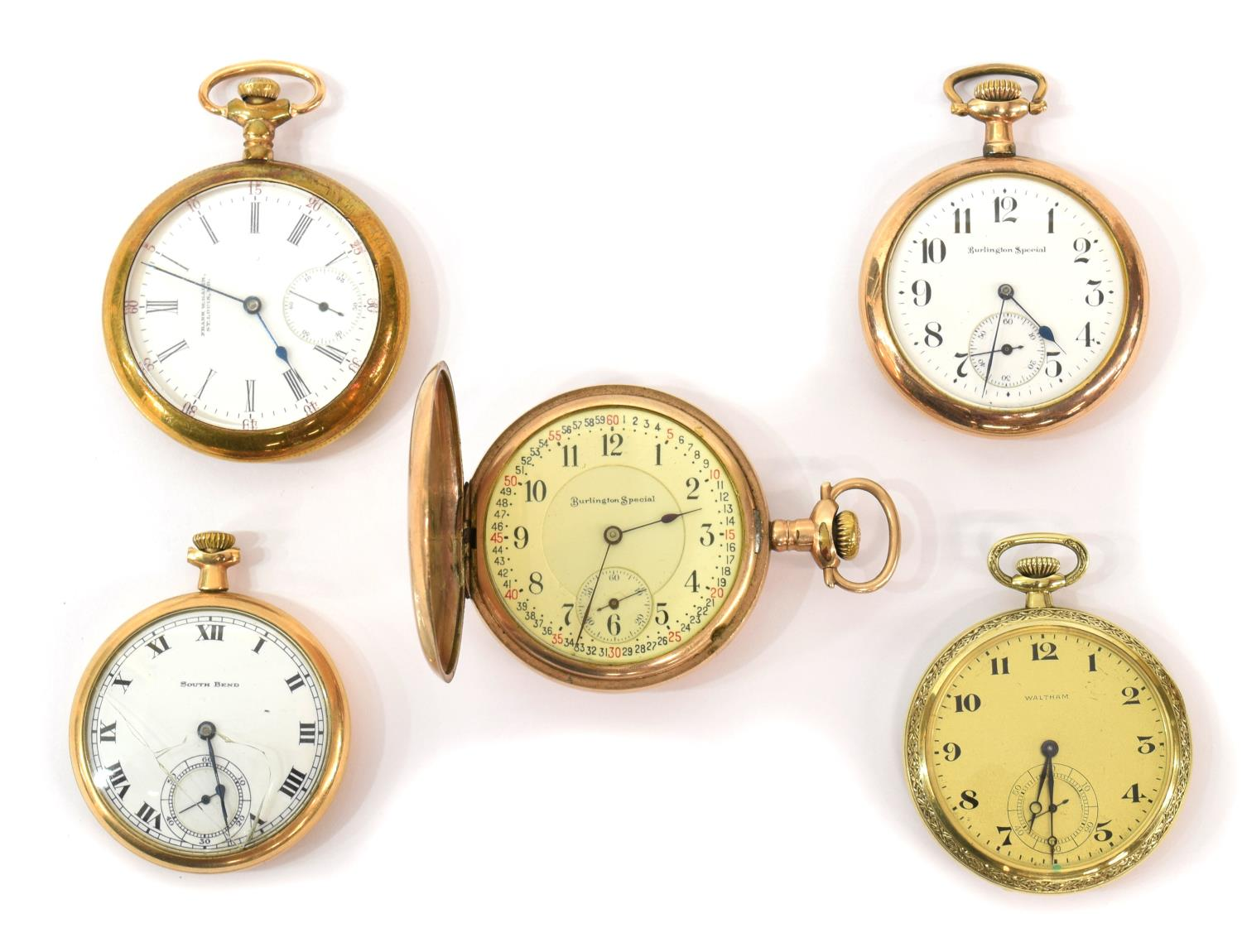 4 pocket watches burlington south bend others march