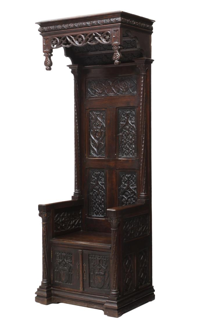 French Gothic Revival Canopy Top Throne Chair March 2016