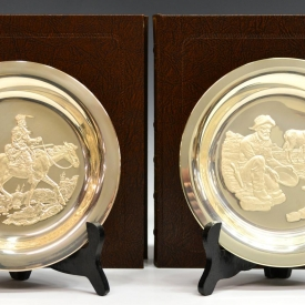 (2) LIMITED EDITION STERLING SILVER WESTERN PLATES