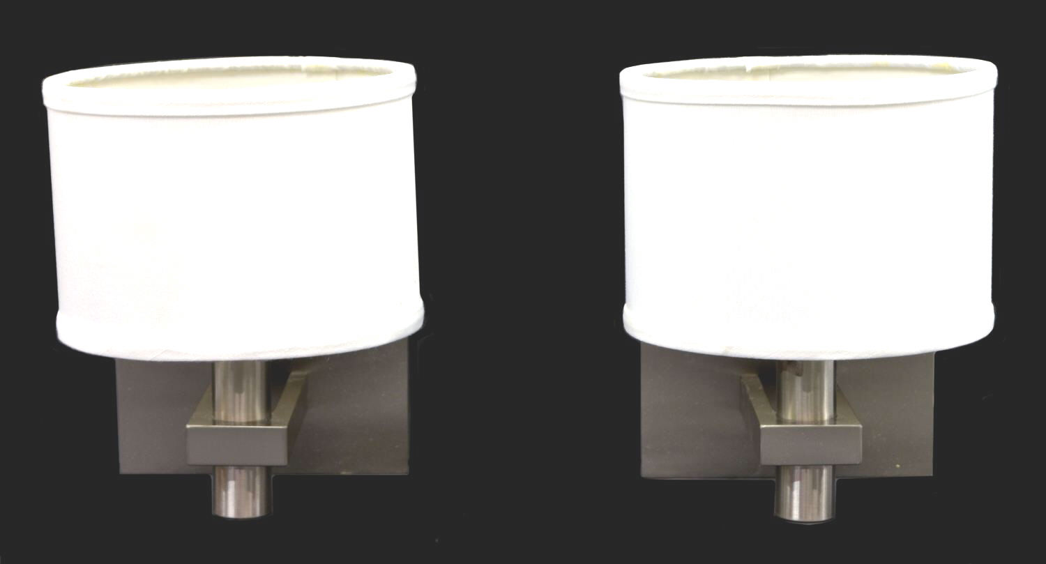 Brushed Chrome Wall Sconces : (2) MOTIV BRUSHED CHROME WALL SCONCES WITH SHADES - April Estates Auction - Austin Auction Gallery