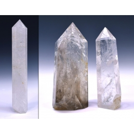 (3) COLLECTION ROCK CRYSTAL OBELISKS