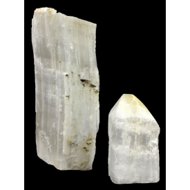 (2) DECORATIVE RAW SELENITE MINERAL COLUMNS