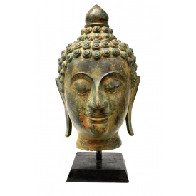 THAI PATINATED BRONZE BUDDHA HEAD, 20TH C.