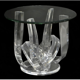 HAZIZA SCULPTURED ACRYLIC & GLASS END TABLE