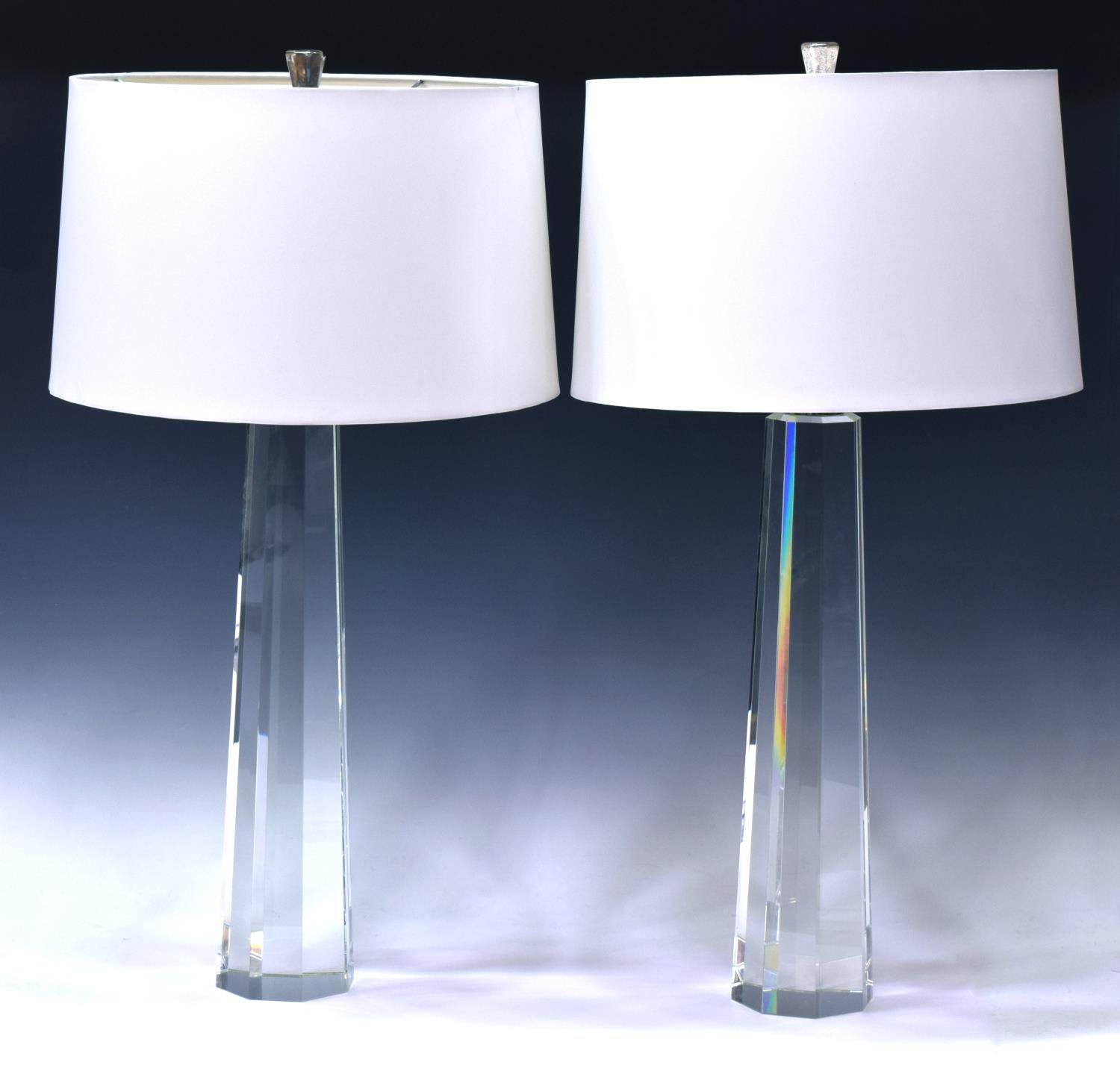 2 faceted glass column table lamps with shades april for Lamp shades austin