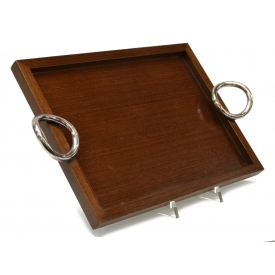 CHRISTOFLE VERTIGO WOOD TRAY WITH PLATED HANDLES