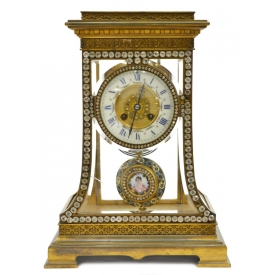 FRENCH VINCENTI GLASS & GILT METAL MANTEL CLOCK