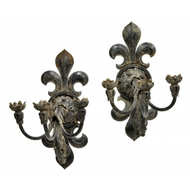(2) FRENCH CAST IRON FLEUR-DE-LIS 3 LIGHT SCONCES
