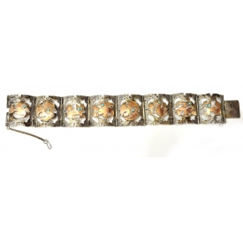 PERUVIAN STERLING & 18KT GOLD ESTATE BRACELET