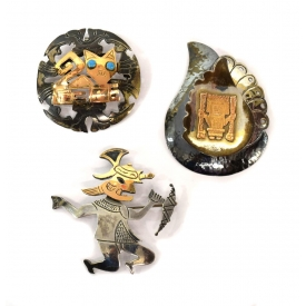 (3) LADIES PERUVIAN STERLING & 18K GOLD PINS