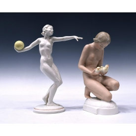 (2) HUTSCHENREUTHER DECO STYLE NUDE FIGURES