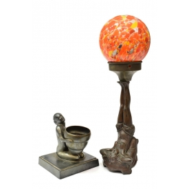 (2) ART DECO FIGURAL LAMPS,LADY HOLDING GLASS BALL