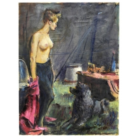 EDWARD A. KLAUCK, OIL PAINTING CIRCUS LADY & DOG