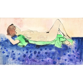 EDWARD A. KLAUCK WATER COLOR NUDE CIRCUS PERFORMER