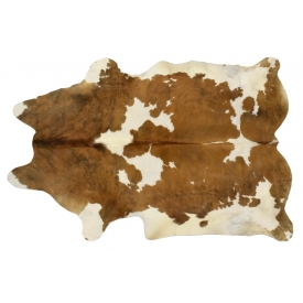 LARGE BRAZILIAN TANNED BROWN & WHITE COWHIDE