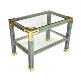 HERMES STYLE BRASS & GLASS OCCASIONAL TABLE