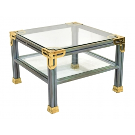 HERMES STYLE BRASS & GLASS COFFEE TABLE