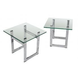 (2) MID-CENTURY MODERN CHROME & GLASS SIDE TABLES