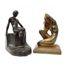 (2) ART DECO STYLE NUDE FEMALE INDIVIDUAL BOOKENDS