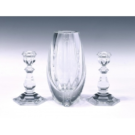 (3) BACCARAT COLORLESS CRYSTAL VASE & CANDLESTICKS