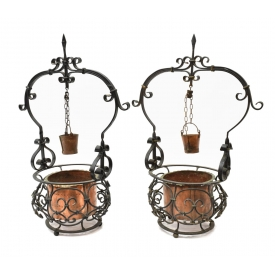(2) PIERCED IRON AND COPPER PLANTERS