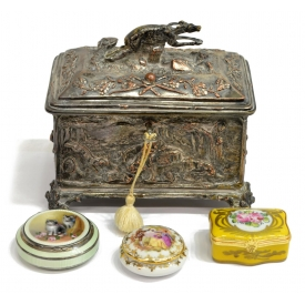 (4) PILL BOXES & SILVERPLATE JEWELRY CASKET GROUP