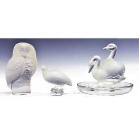 (3) LALIQUE ART GLASS ANIMAL FIGURINES