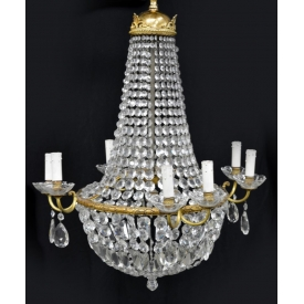 FRENCH SAC-A-PEARL EMPIRE STYLE CHANDELIER 20TH C