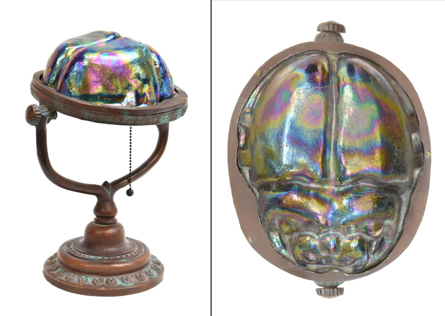 Tiffany style bronze stained glass scarab lamp may estates auction 2016 day 2 austin - Lamp may day ...