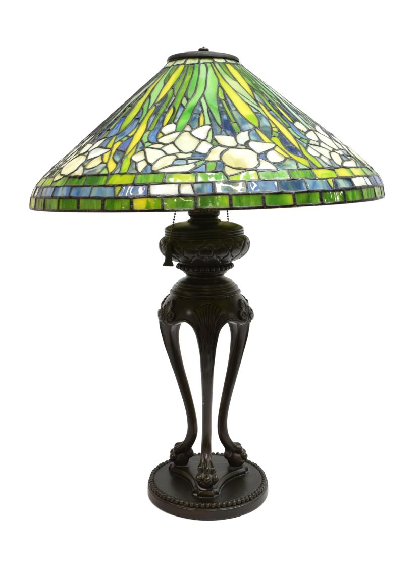 Tiffany style stained glass water lily table lamp may estates auction 2016 day 2 austin - Lamp may day ...