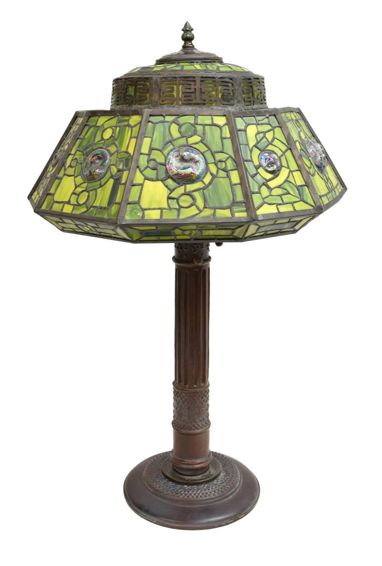 Tiffany style stained glass 3 light table lamp may estates auction 2016 day 2 austin - Lamp may day ...