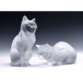 (2) LARGE LALIQUE FROSTED ART CRYSTAL CAT FIGURES
