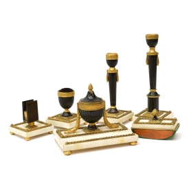 (6) EMPIRE STYLE GILT METAL & ALABASTER DESK SET