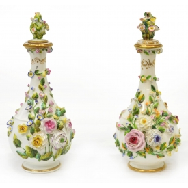 (2) ROCKINHAM PORCELAIN BREMELD BOTTLE VASES