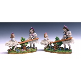 (2) SITZENDORF DRESDEN LACE SEESAW FIGURAL GROUPS