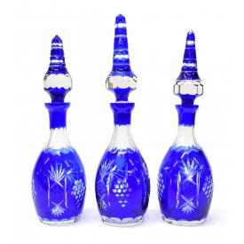(3) COBALT CUT TO CLEAR GRAPE CLUSTER DECANTERS