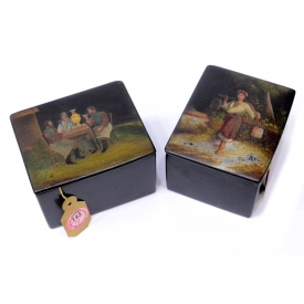 (2) 19TH C RUSSIAN PAPER MACHE LACQUER TABLE BOXES