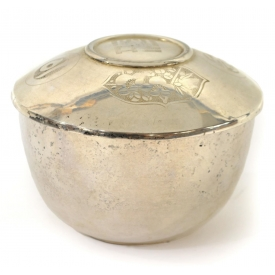 CHINESE STERLING SILVER ETCHED LIDDED JAR