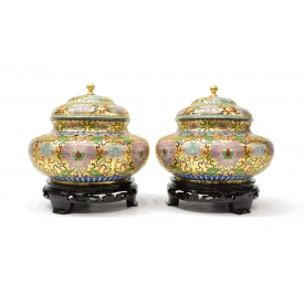 (2) VINTAGE CHINESE GILDED CLOISONNE COVERED JARS