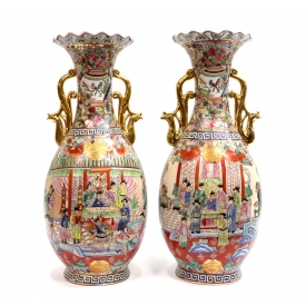 (2) CHINESE FAMILLE ROSE VASES W/ PHOENIX HANDLES