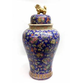 CHINESE FAMILLE-ROSE COBALT GROUND TEMPLE VASE