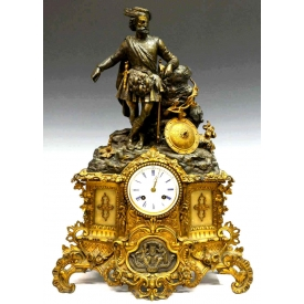 LARGE FRENCH JAPY FRERES FIGURAL MANTLE CLOCK