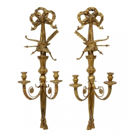 ITALIAN CARVED GILTWOOD TWO-LIGHT SCONCES