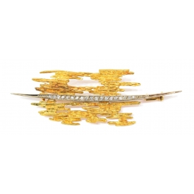 LADIES ABSTRACT 18KT TWO TONE DIAMOND BROOCH